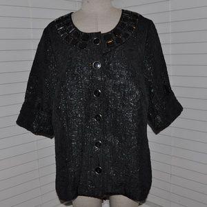 SOFT by AVENUE Shimmery Jewel Neckline Jacket [B3]